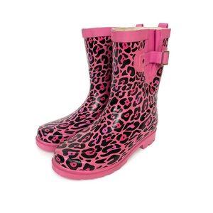 Western Chief Girls Slip on Leopard Rain Boots